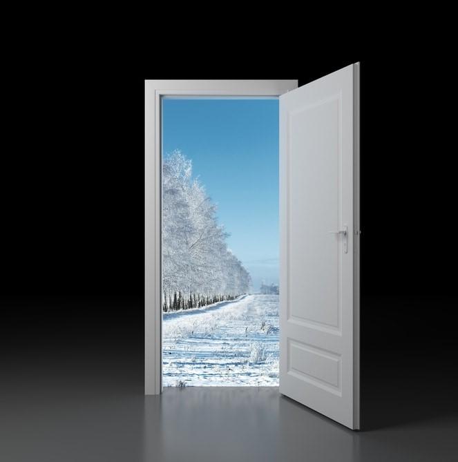 Dream of Door opening onto snowy landscape
