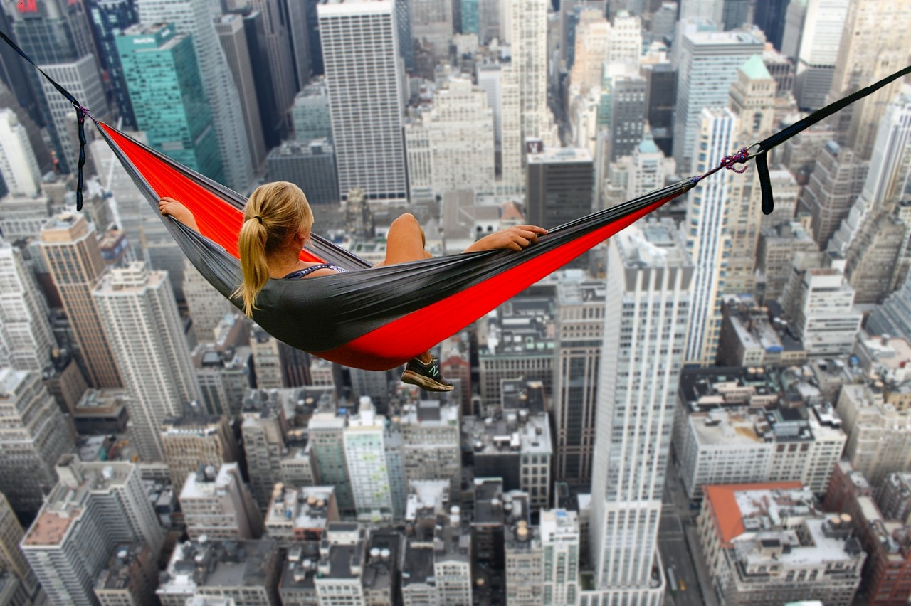 woman high up in hammock with fear of heights