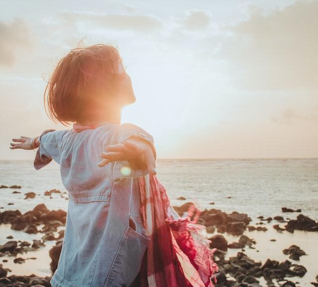 Woman on beach - life change