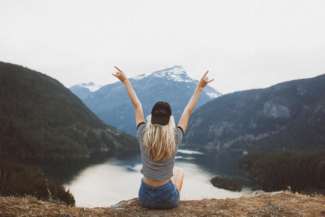 Positive Life Change Woman on Mountain
