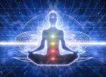 Meditation man opening chakras drawing