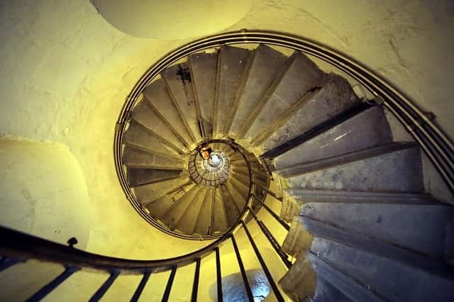 looking down spiral staircase - fear of heights